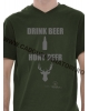 "Tricou ""Drink Beer Hunt Deer"" - kaki"