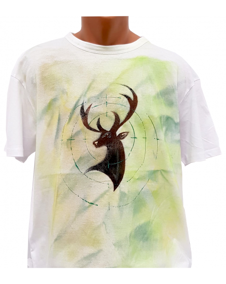 Tricou pictat manual - Target Stag