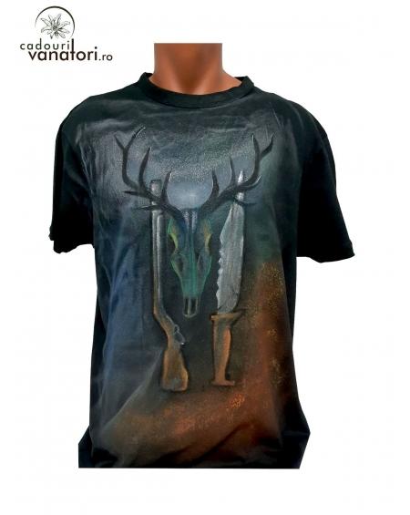 Tricou pictat manual - Deer Skull