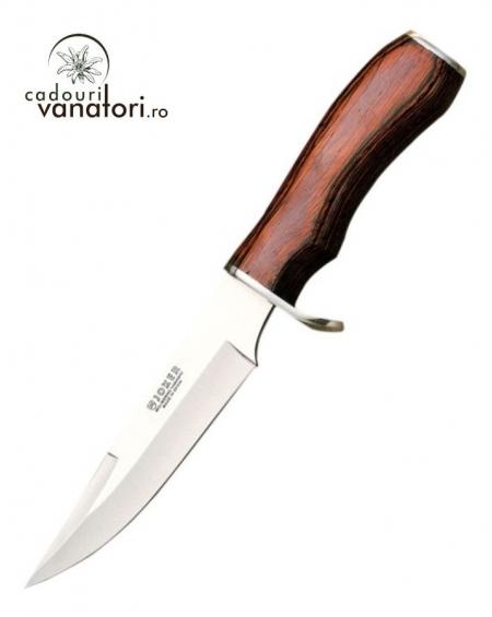 Cutit de vanatoare Joker Corzo lama 10cm - CR25, teaca din piele, maner stamina