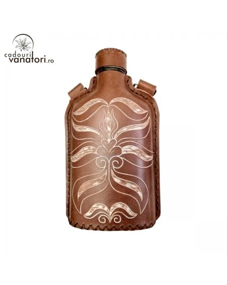 Ploscă din sticlă îmbracată în piele naturală de bovină - 200ml -Mod.3