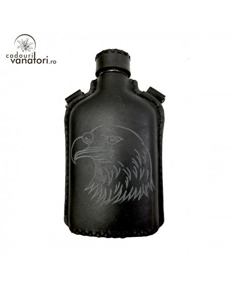 Ploscă din sticlă îmbracată în piele naturală de bovină - 200ml -Mod.1