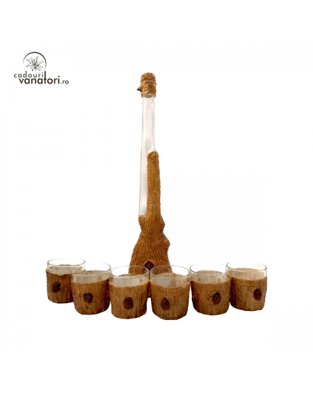 Set sticla si 6 pahare whisky decorate artizanal - 500ml - mod 1
